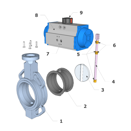 Double Acting Lugged Butterfly Valve Construction