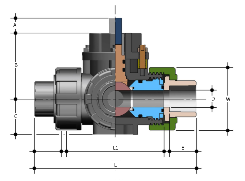 PVC 3 way manual ball valve