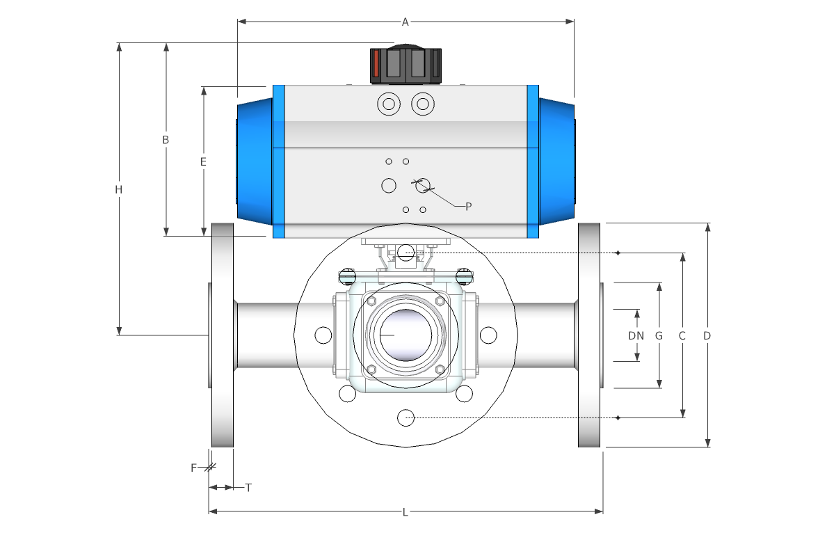 3 way flanged spring return stainless steel ball valve