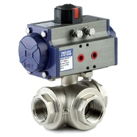 3 way Double Acting Nickel Plated Brass Ball Valve