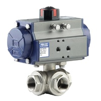 3 way Spring Return Nickel Plated Brass Ball Valve