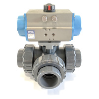 UV Stabalised 3 Way Double Acting PVC Ball Valve