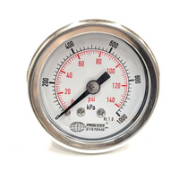 "40mm Stainless Steel liquid filled 1/8"" BSPT rear entry 0~1000 kpa Pressure Gauge"